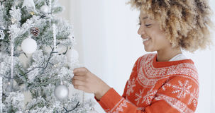 Happy trendy African girl at Christmas Royalty Free Stock Photography