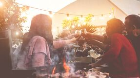 Free Happy Trendy Family Cheering With Red Wine At Barbecue Dinner Outdoor - Different Age Of People Having Fun At Sunday Bbq Meal - Royalty Free Stock Photo - 174033575