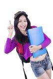 Happy trendy female student get idea Stock Images