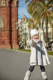 Happy trendy girl in Barcelona, Spain showing thumbs up Royalty Free Stock Photography