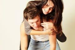 Happy trendy young couple Stock Photos