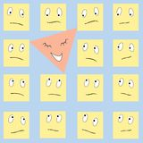Happy triangle and sad squares. Abstract vector art illustration Stock Photography