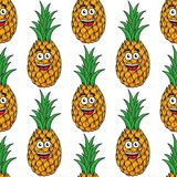 Happy tropical pineapple seamless pattern Stock Image