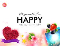 Happy tropical Valentines Day card design Royalty Free Stock Images