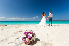 Happy Tropical Wedding Royalty Free Stock Image