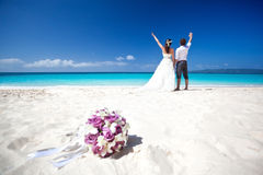 Happy Tropical Wedding Stock Photos