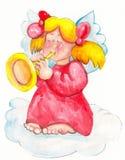 Happy trumpet angel Stock Image
