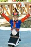 Happy Tsou girl. A girl from the Taiwan Alishan Tsou aboriginal show the happiness of the dancing Stock Photo