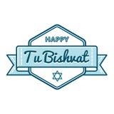 Happy Tu Bishvat holiday greeting emblem Stock Images