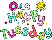 Happy Tuesday Cartoon Text Clipart Stock Image