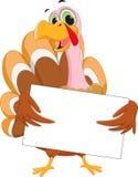 Happy turkey cartoon with blank sign Royalty Free Stock Photos