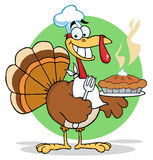 Happy turkey chef with hot pumpkin pie Royalty Free Stock Photo