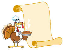 Happy turkey chef with pie and scroll Royalty Free Stock Image