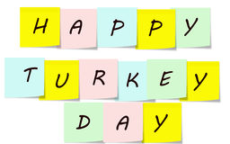 Happy Turkey Day Sticky Notes Royalty Free Stock Image