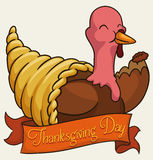 Happy Turkey over an American Flag for Thanksgiving Day, Vector Illustration Royalty Free Stock Image