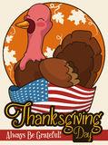 Happy Turkey over an American Flag for Thanksgiving Day, Vector Illustration Royalty Free Stock Photo