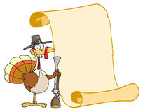 Happy turkey with pilgrim hat and musket. Happy thanksgiving turkey bird holding a musket by a blank menu scroll Royalty Free Stock Image