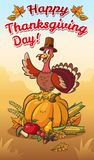 Happy thanksgiving day illustration.Turkey in pilgrim hat on the pumpkin with vegetables and fruits. Vector illustration for thanksgiving day. Happy Turkey in stock illustration