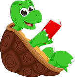 Happy turtle cartoon reading book Royalty Free Stock Images