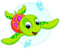 Happy turtle catoon. Turtle babies are cute and adorable swimming royalty free illustration