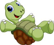 Happy turtle catoon. Cute turtle is swimming upside down royalty free illustration