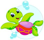 Happy turtle catoon Stock Images