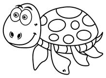 Happy turtle coloring Royalty Free Stock Image