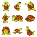 Happy turtle icons set, cartoon style Royalty Free Stock Photo