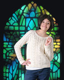 Happy Tween in Church Royalty Free Stock Photography