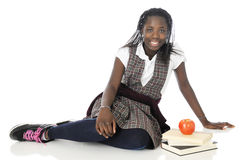 Happy Tween Schoolgirl Looking at You Stock Photography