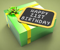 Happy Twenty-First Birthday Present Shows Stock Images