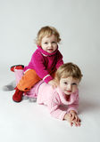 Happy twin girls Royalty Free Stock Images