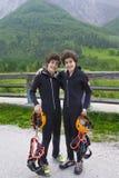 Happy twin ready to canoe Stock Photo