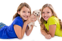 Happy twin sister kid girls and puppy dog lying. Playing on white background royalty free stock image