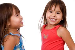 Happy twin sisters. royalty free stock photo