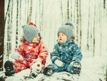 Happy twins boy and girl Royalty Free Stock Photos
