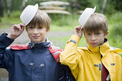 Happy twins brother royalty free stock photo