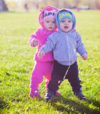 Happy twins outdoor Stock Photography