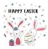 happy two bunny with eggs, happy Easter card royalty free illustration