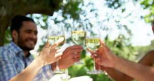 Happy two couples toasting wine glasses. At outdoor restaurant stock video