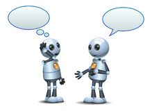 Happy two droid little robot conversation on isolated white. Illustration of a happy droid little robot conversation on isolated white background royalty free illustration