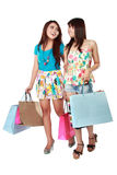 Happy two shopping girl holding bags Royalty Free Stock Photography