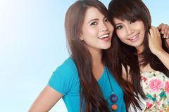 Happy two teenage girls Stock Images