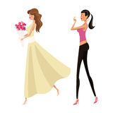 Happy two woman fashion slim Stock Photography