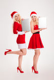 Happy two women in santa cloth holding laptop computers Stock Photography