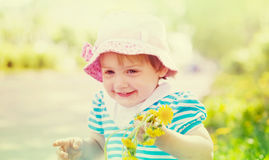 Happy  two-year girl in summer Royalty Free Stock Image