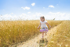 Happy two years old girl running on farm rye field road outdoors at summer Royalty Free Stock Photos