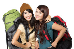 Happy two young girl going on vacation Royalty Free Stock Photos