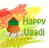 Happy Ugadi card. Happy Ugadi Festival. Indian Fest Party celebration. Spring New Year. Colorful background with flowers of the tree Neem and pot. Template with Royalty Free Stock Photography