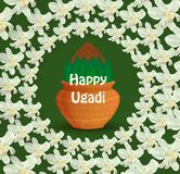 Happy Ugadi card. Happy Ugadi Festival. Indian Fest Party celebration. Spring New Year. Colorful background with flowers of the tree Neem and pot. Template with Royalty Free Stock Photos